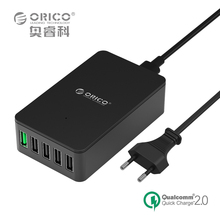 For Qualcomm Certified Quick Charge 2.0 ORICO 5 Port Desktop USB Charger Galaxy S7/S6/Edge, Note 4/5, iPhone, Nexus More(QSE-5U)