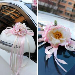 Image 5 - רכב חתונה קישוט פרח 10 צבעים דלת ידיות Rearview מראה חתונה ידית לקשט מלאכותי פרח לחתונה