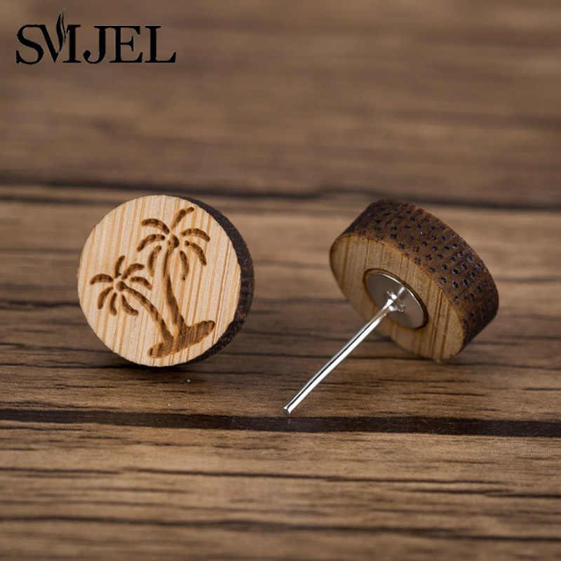 SMJEL Simple Round Wood Stud Earrings For Women Wooden Unisex Jewellery Men earrings Animal Cactus Bird plant shape earrings
