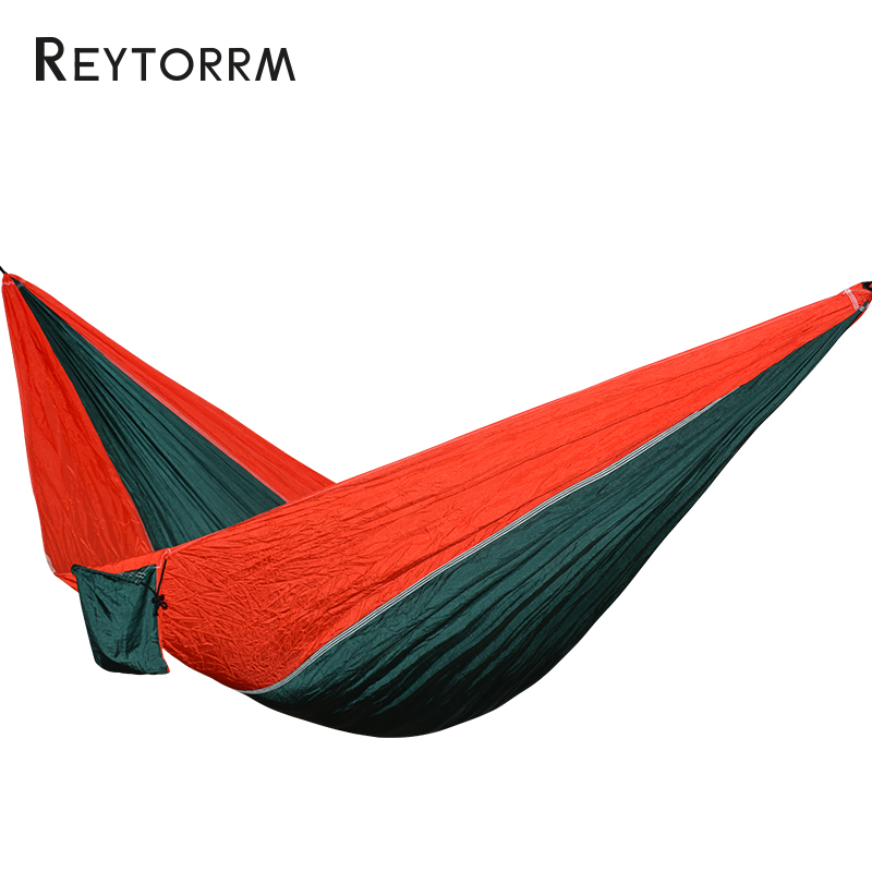 Portable Nylon Hammock 1-2 Person Outdoor Camping Parachute Hamac Hanging Chair Tree Bed With Strength Straps Hamak outdoor double hammock portable parachute cloth 2 person hamaca hamak rede garden hanging chair sleeping travel swing hamac