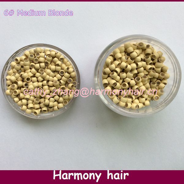 Free shipping!! 1000 pcs 13# blonde silicone nano beads Copper Nano Rings with Silicone lined