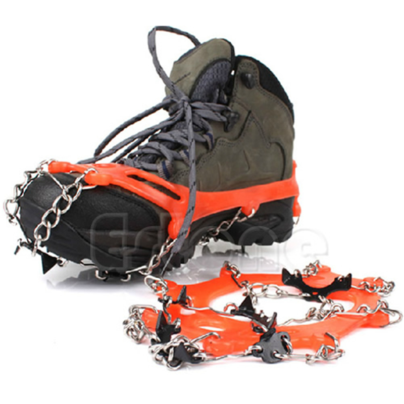 New Fashion High Quality 8 Teeth Climb Ice Snow Magic Spike Anti Slip Shoe Grips Crampons Footwear Orange Stainless Steel Chain round snow ice climbing mountaineering shoes crampons orange pair