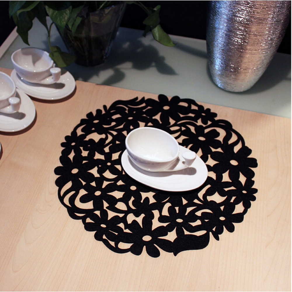 online get cheap round black placemats aliexpresscom  alibaba group - yazi pcs black hollow out flower felt heat insulation pad dinner tableplacemats xcm round table mats