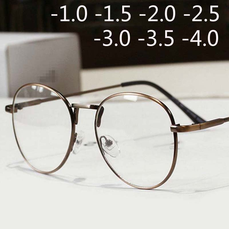 Full Alloy Frame Glasses Men Women Oval Myopia Eyewear Blue Coated Vintage Big Myopia Glasses -1.0 -1.5 -2.0 -2.5 -3.0 -3.5 -4.0