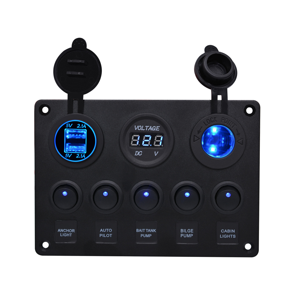 WUPP 12V Power Outlet 5 Gang ON-OFF Toggle Switch Panel Cigarette lighter Charger Dual USB Socket Voltmeter for Car Boat Marine