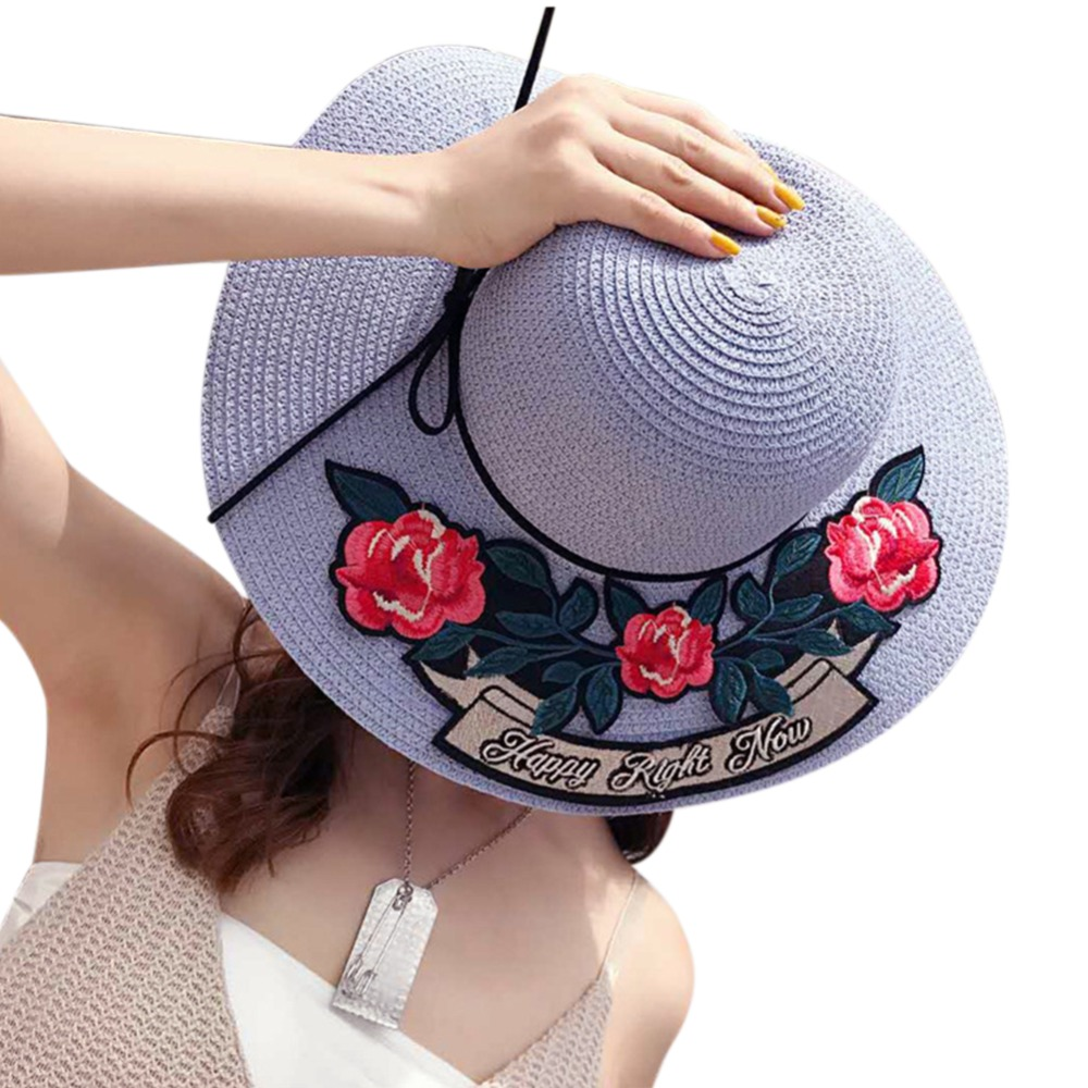 Fashion Beach Hat Embroidered Rose Straw Hat Beach Sun Hat Elegant Straw  Floppy Bohemia Cap For