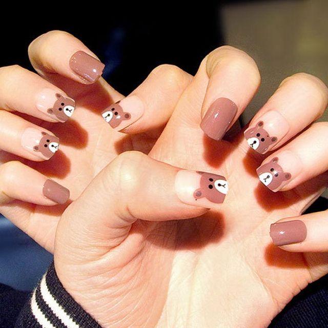 Korean style Blue Patchwork pattern pure color false nails