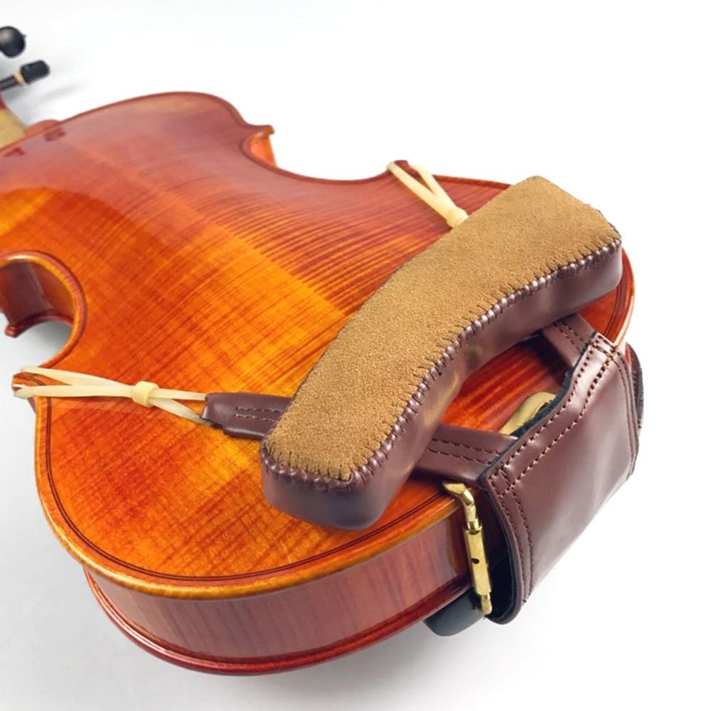 Violin Shoulder Rest 1/4 4/4 1/8 Beautiful Leather Chinrest Pad Padded Violin Chin Shoulder Fiddle Partners Musical Instruments william 4 4 fom violin shoulder rest pad black white