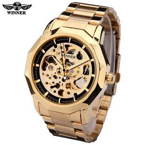 Image 2 - Relojes de pulsera marca WINNER para hombre, de esqueleto mecánico, automático, informal, de acero dorado, masculino