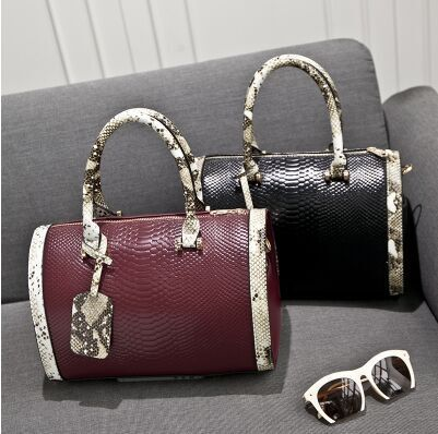 ФОТО 2017 new fashion lady bag panelled crocodile Alligator leather women handbag shoulder bag Messenger bags
