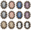 Wholesale 12 Pieces / Pack Vintage Style Cameo Brooch Pins in Antique Gold Plated for Lady