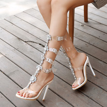 2019 Lady Crystal Transparent Party Shoes Woman Summer Buckle High Heels Rome Knee Gladiator Sandals Women Big Size34-44