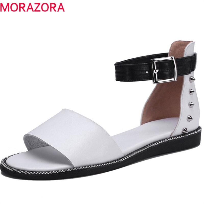 MORAZORA 2019 new fashion style women gladiator sandals rivet buckle genuine leather shoes comfortable flat summer