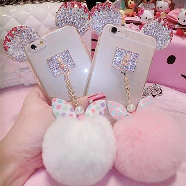Crystal Mickey Ear Case Bowknot Fur Ball Phone Cases For iPhone 5 6 7 8 plus /Galaxy S4/S5/ S6 7 edge plus /S8/S8plus/J5/J7 2017
