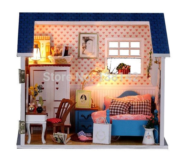 W007 hongda DIY De jongen slaapkamer Miniatuur Poppenhuis met led ...