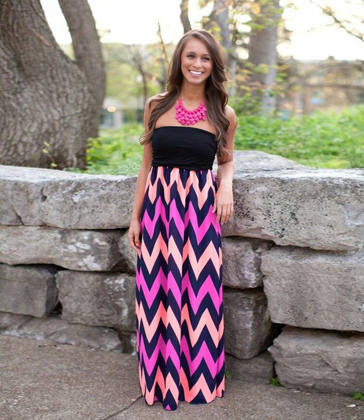 d0d3e349caab 2018 Summer Style Women Tee Dress Patchwork Wave Stripes Print Long Maxi  Dresses Bohemian Rerto Ethnic Tube Dress Vestido Longo-in Dresses from  Women s ...