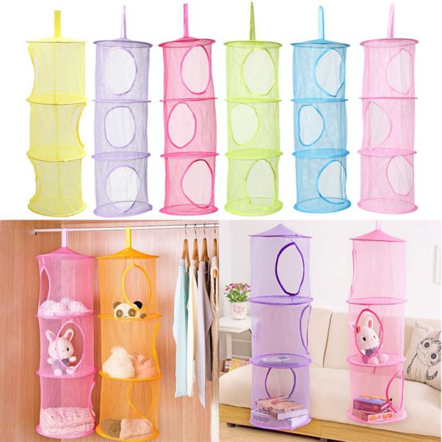 Gentil 3 Shelf Hanging Toy Organizer Toys Bag Storage Net Mesh Basket Bedroom Wall  Door Closet Organizers
