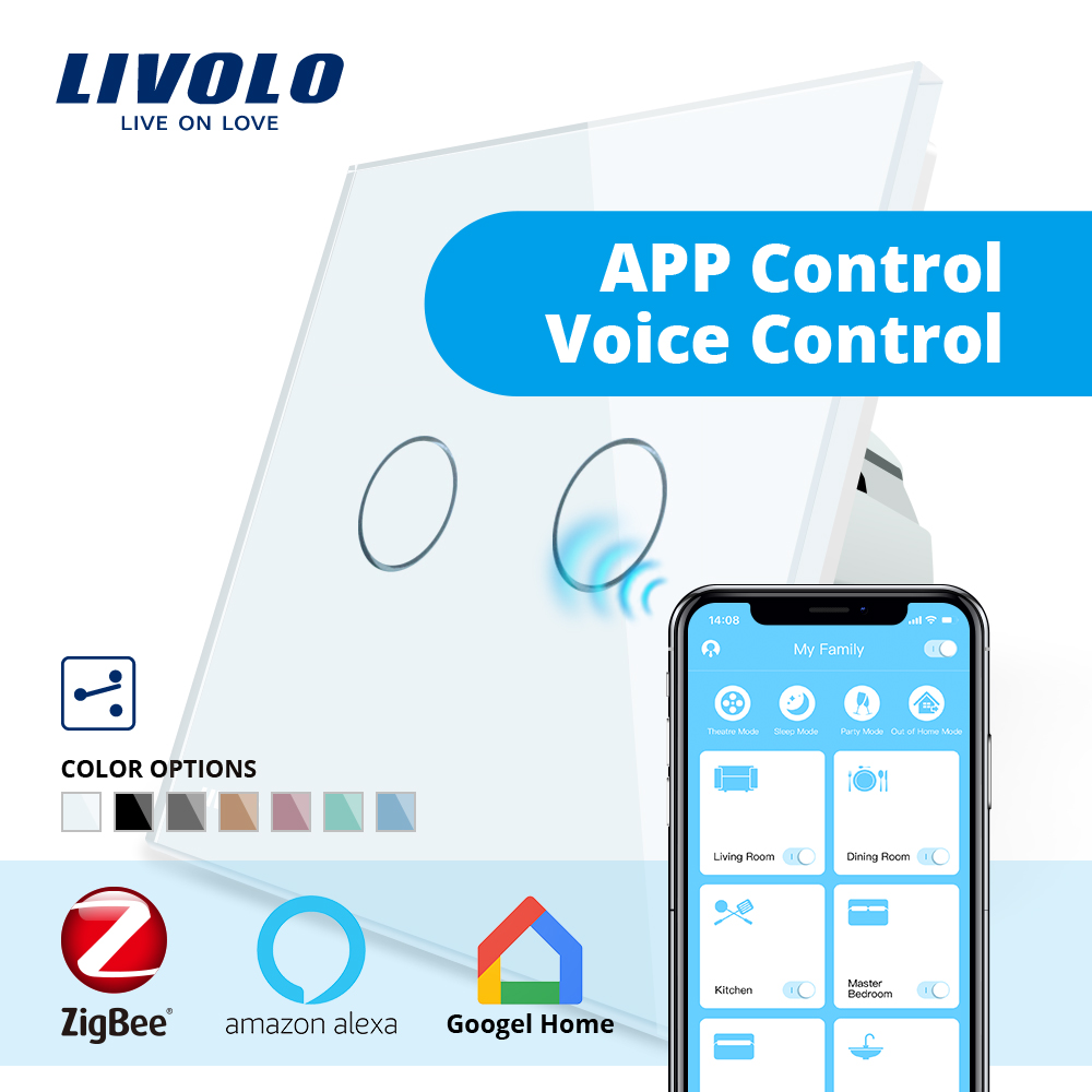 Livolo universel Wifi intelligent sans fil Intelligence App, wifi commutateurs muraux, croix, 2 voies, travail ZigBee commutateur, google accueil, écho, alexa