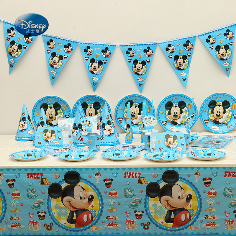 Suitable for 12 people High quality Mickey mouse Tableware Set total 177pcs lot Children Birthday Party