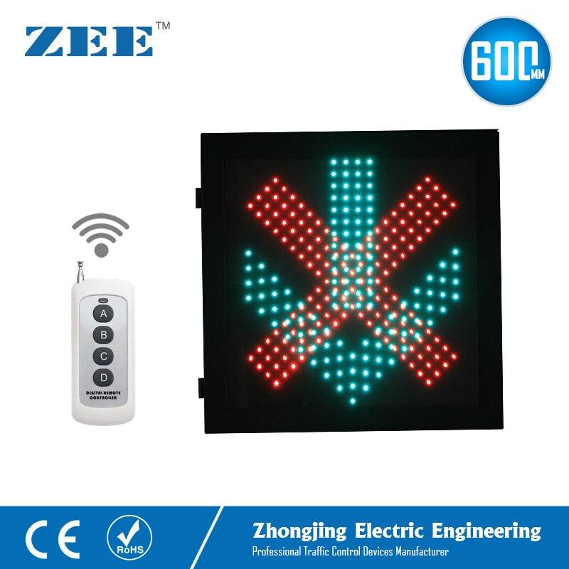Удаленный Беспроводной управления светодио дный 600x600 мм Красного Креста зеленый светодио дный светофор Lane контроллер светофора светодиодн