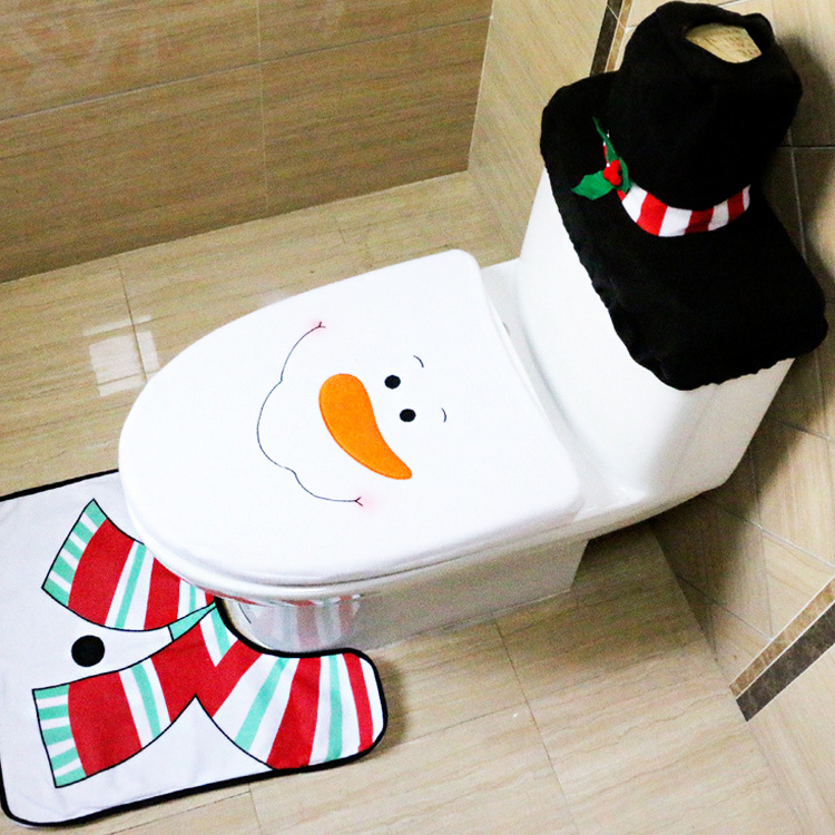 Fancy Snowman Toilet Seat Cover Rug