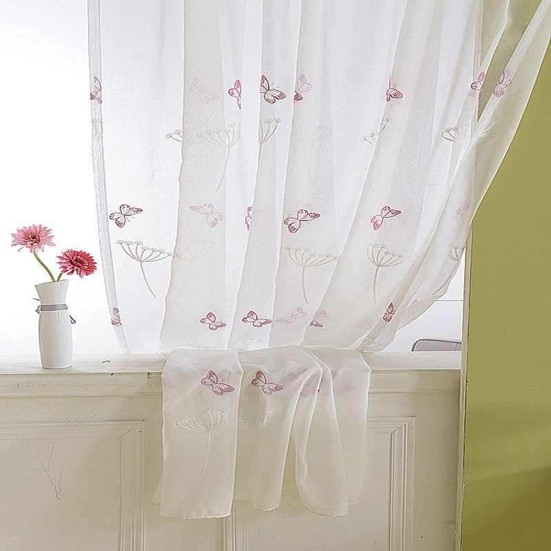 Pink Butterfly Window Sheer Curtains For Living Room Embroidered Voile Tulle For Baby Girls Bedroom Yarn For Princess 266&25