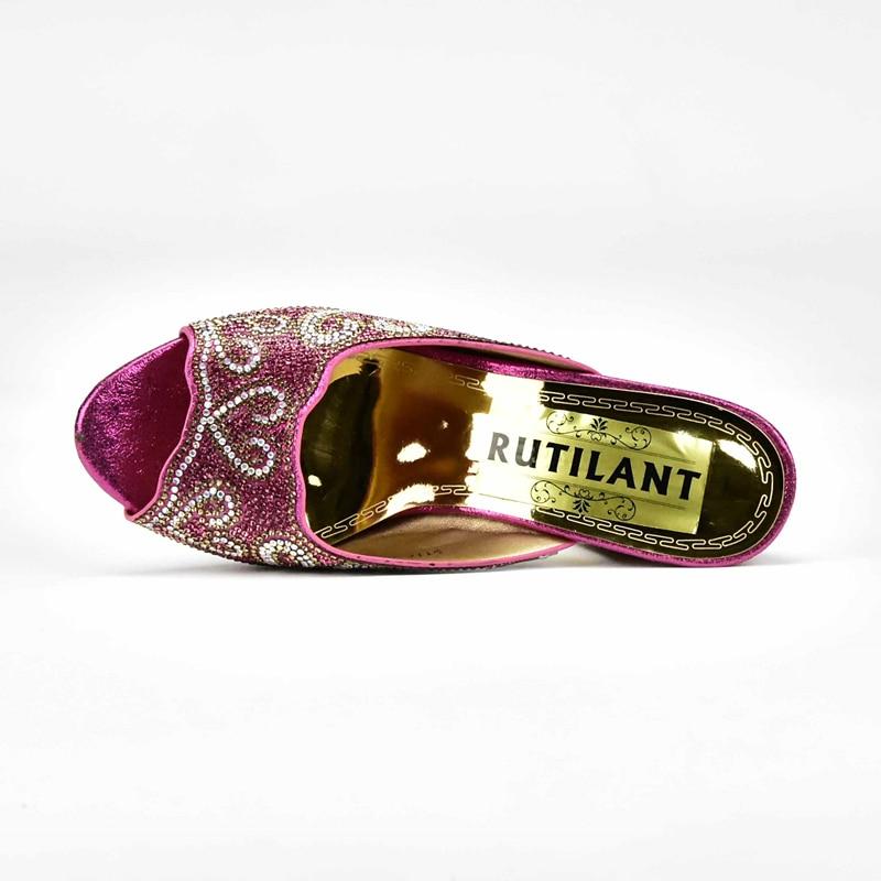 Et Strass rose Italie Noir Africain Ensemble Qualité rouge Italien Chaussure pourpre Chaussures Haute Parti Sac Dames De or Avec Décoré Cristal C4t8q