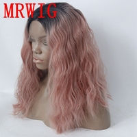 MRWIG MRWIG braided curly middle part 14inch 150% real hair ombre dark pink front lace wig combs &straps glueless for lady woman
