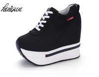 Hidden Heel Women Casual Shoes 2017 Women High Tops Canvas Height Increasing Wedges Shoes White Black