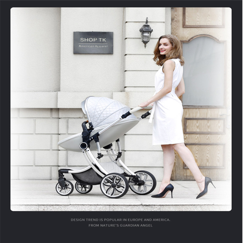 Lightweight high landscape stroller can sit and fold easily, two-way stroller PU material four-wheel shock absorberLightweight high landscape stroller can sit and fold easily, two-way stroller PU material four-wheel shock absorber