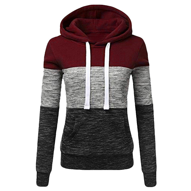 Hoodies Women Sweatshirts Fashion Womens Casual Hoodies Sweatshirt Patchwork Ladies Hooded Pullover Women Clothing Sweats Warm