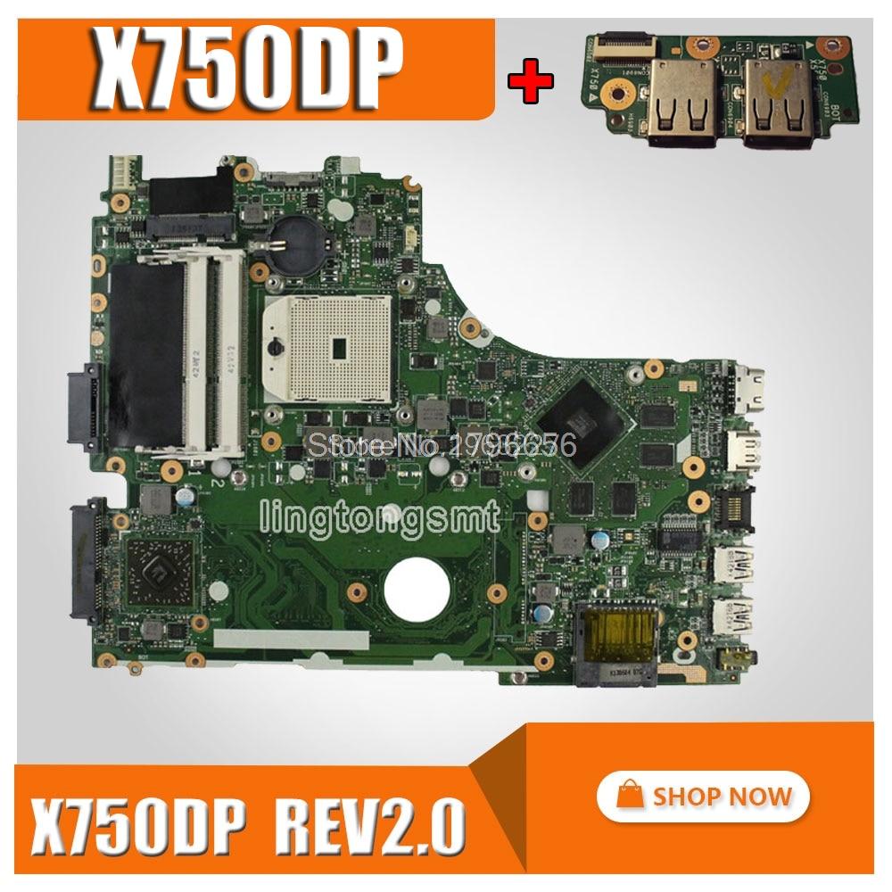 send board+X750DP motherboard for ASUS X750DP K550D X550D K550DP X550DP laptop motherboard rev2.0 X750DP mainboard original цена