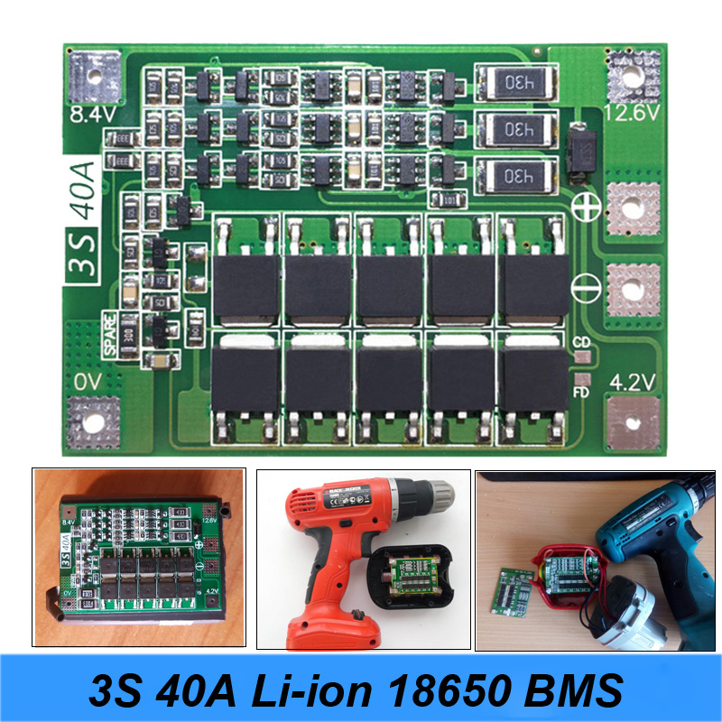 NEW 3S 40A For Screwdriver 12V Li-ion 18650 BMS PCM Battery Protection Board BMS PCM With Balance Liion Battery Cell Pack Module