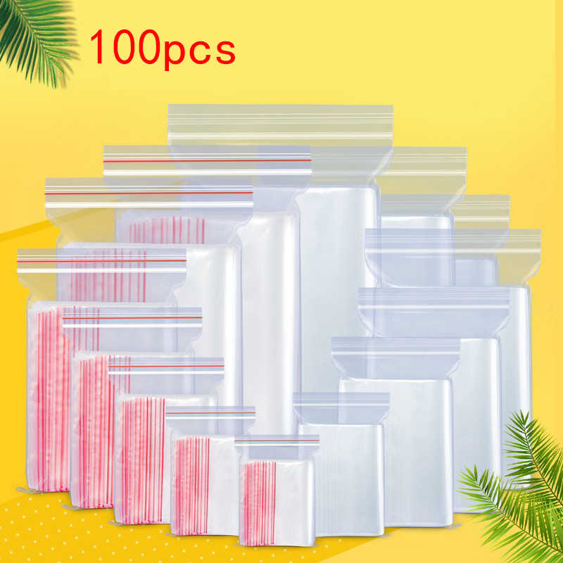 100pcs Zip Lock Ziplock Bags Clear Food Storage Package Small Jewelry Packing Reclosable Vacuum Storage Bag Thick Fresh bag