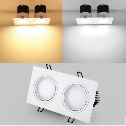 1pcs Energy saving Recessed Double LED Dimmable white Downlight COB 10W 20W LED Spot light decoration Ceiling Lamp AC 110V 220V 2016 winter jacket women down jackets plus size rose embroidery thin loose down coat long design down outwear parkas duch down