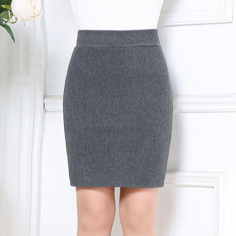 2017 Autumn&winter Women Woolen Skirt Fashion Slim Sexy Solid Color Elastic Office Pencil Skirt Plus Size Gray Black Mini Skirt