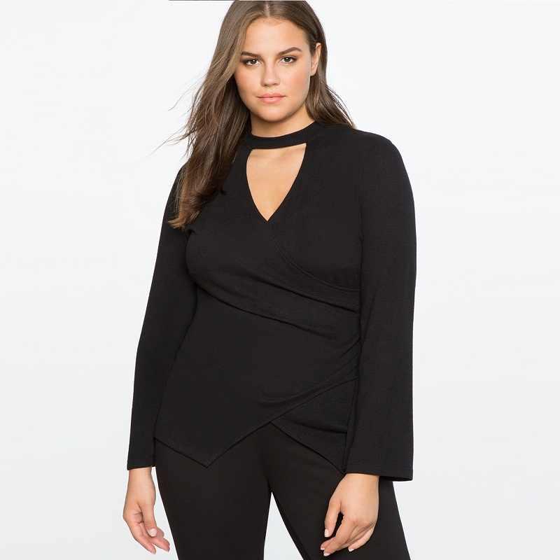 0f43791f6d9 2017 Плюс Размер Женская одежда с плавающим воротником Сексуальная накидка  Топ v-образный вырез черная