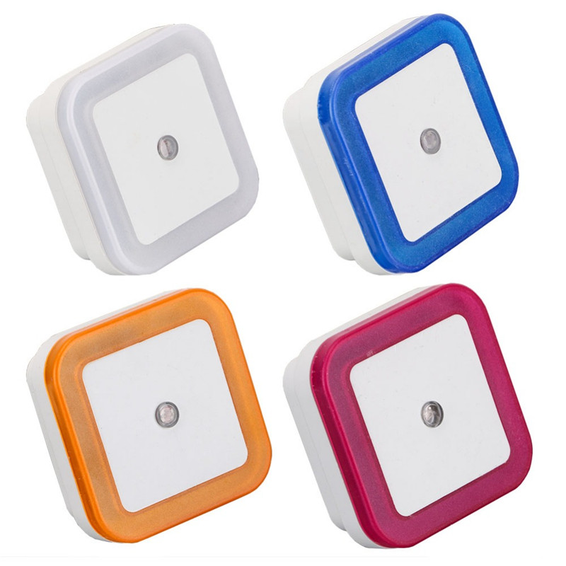 1pcs Light Sensor Control Night Light Mini EU US Plug Square Bedroom lamp For Baby Gift Romantic Colorful Lights High Quality colorful led night light sensor control square bedroom wall lamp eu us uk plug mini night lamp child creative gift home decor