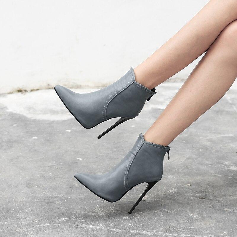 Tacones Botas Básicos Femeninos Botines Altos gray Invierno brown Punta Ocasionales Black 12 Mujer Cm Mujeres Hecho Mano Zapatos Estrecha A Outwear 4wqCXp