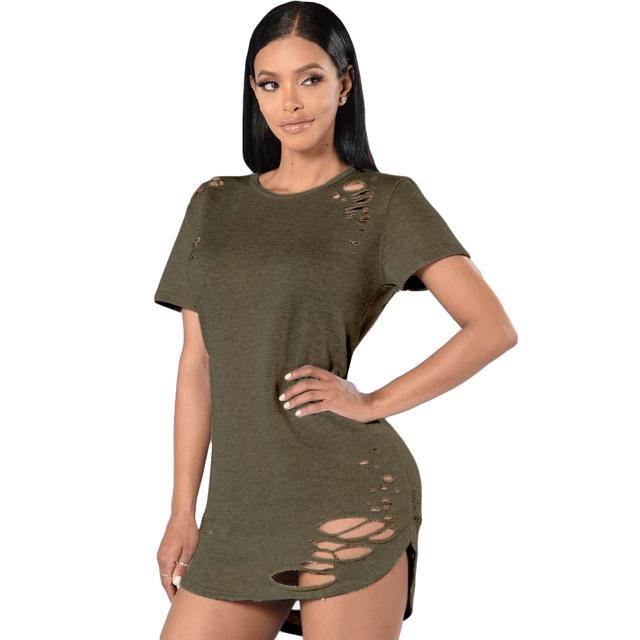 Camisa 2017 Nueva Llegada Del Verano Harajuku agujero Negro Verde Del Ejército Manga corta Cuello de O Patchwork Agujero Irregular Camiseta de La Manera mujeres