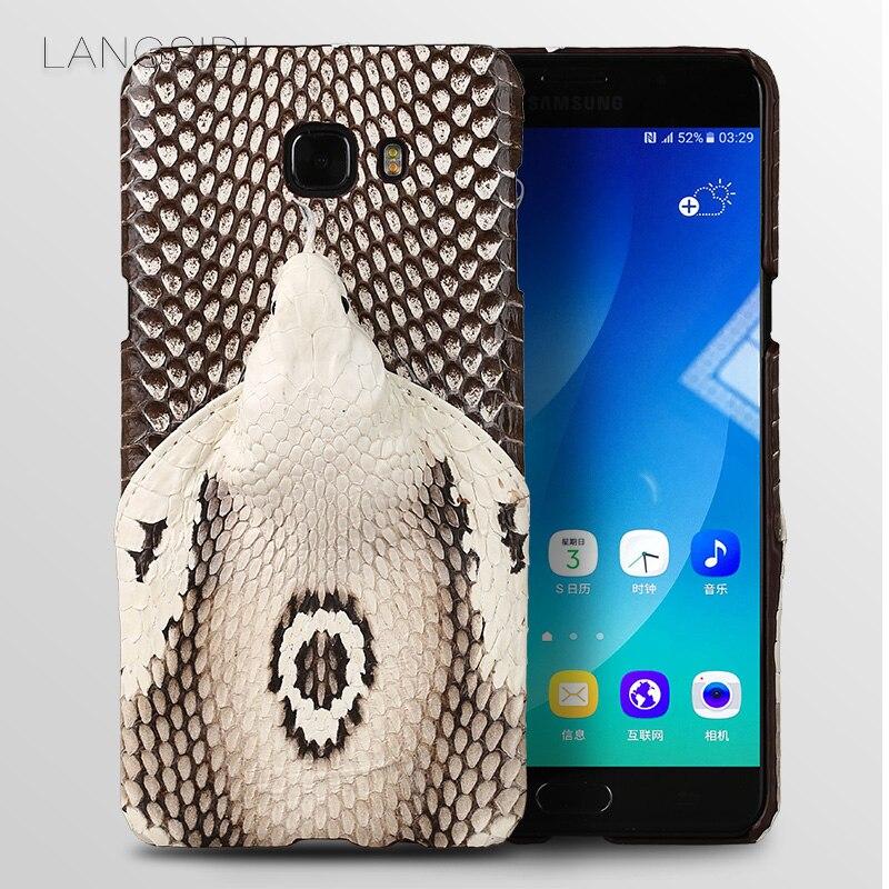 Coque de téléphone de marque de luxe véritable tête de serpent couverture arrière coque de téléphone pour Samsung Galaxy C9 Pro traitement personnalisé manuel complet