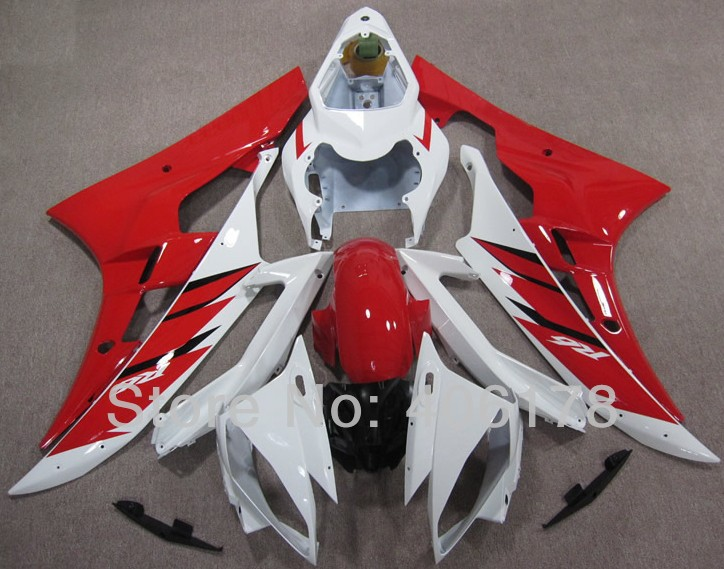 Hot Sales,Yzf600 R6 06 07 fairing For Yamaha Yzf R6 2006 2007 Sport Motorcycle Red and White Fairings (Injection molding) тормозные огни для мотоциклов yzf600 yzf 600 2006 2007