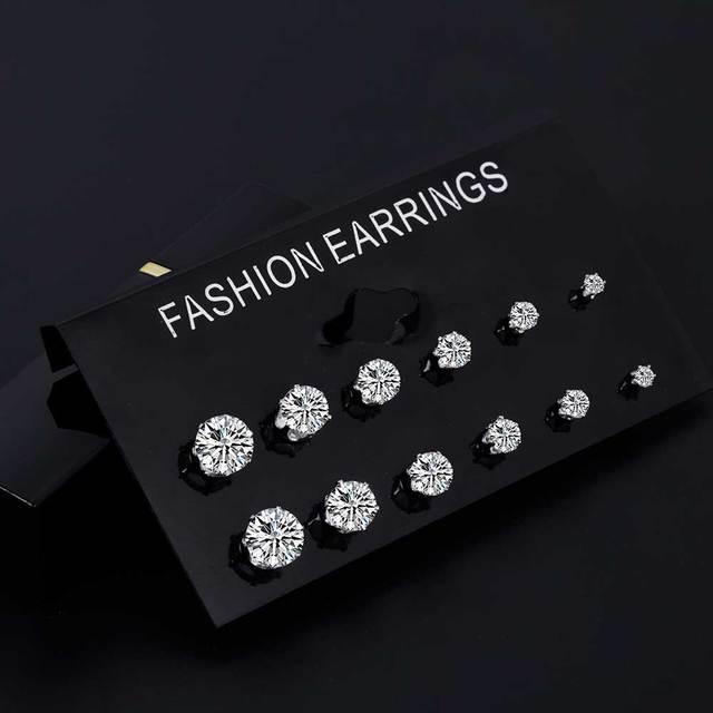 FAMSHIN Fashion 6 Pair/ set Punk Zircon Crystal Stud Earrings Set For Women Round Flower Gothic Design Brincos Jewelry Bijoux