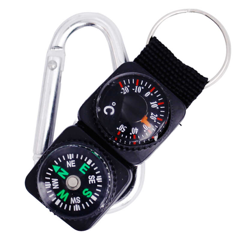 Mini Keychain multifunction Camping Compass Thermometer Outdoor Climbing Temperature tester outdoor helping Survival device