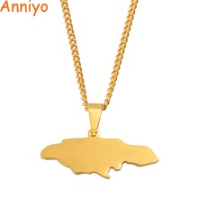 Anniyo Jamaica Map Pendant Necklaces for Women Girls Stainle