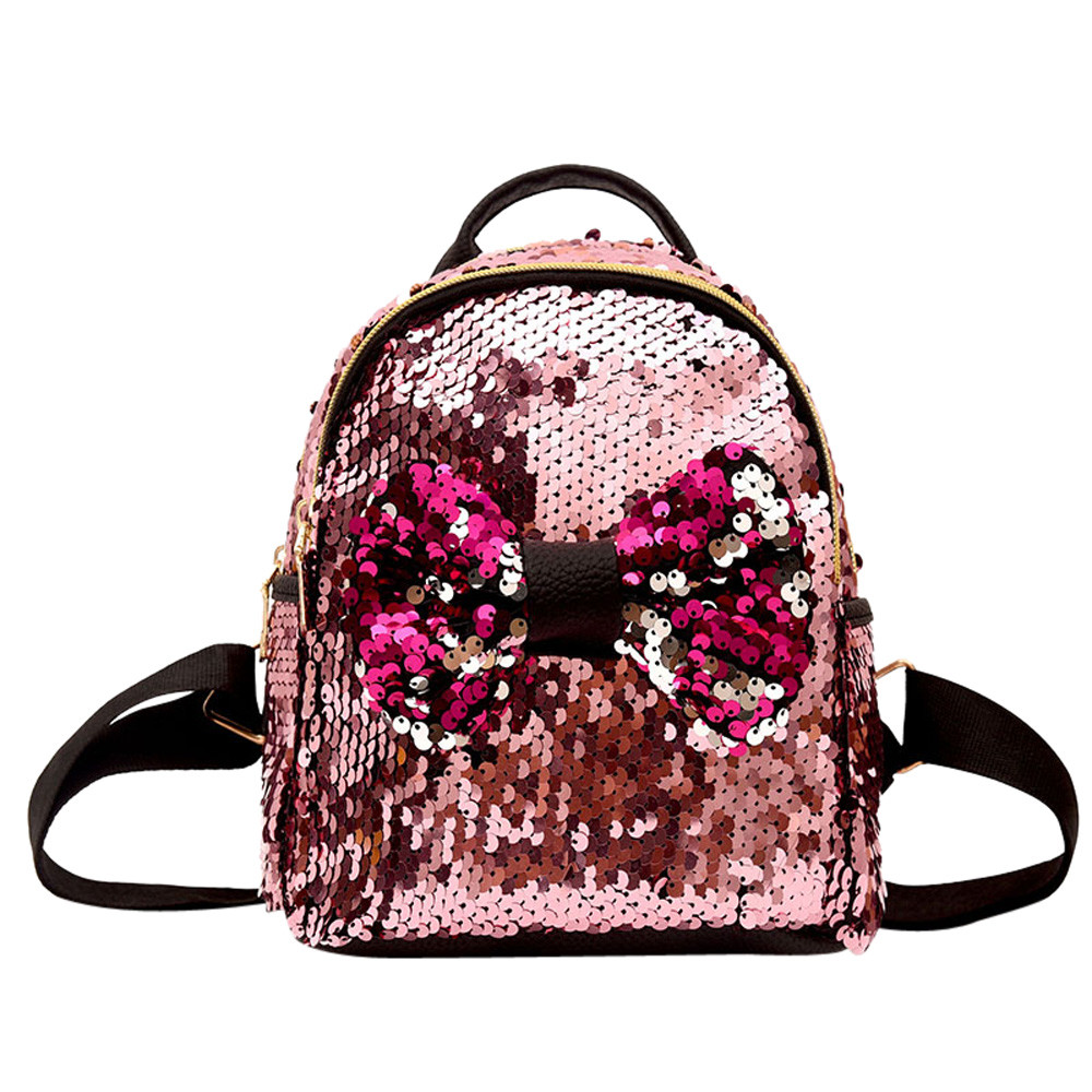 Women Sequins Bow Tie Backpacks Teenage Girls Travel Large Capacity Bags Party Mini School Bags Mochila Mujer Casual HW