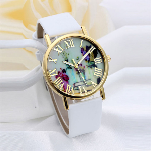 2018 New Brand Fashion Vases Dial Women Dress Quartz Leather Rivets Bracelet Wat