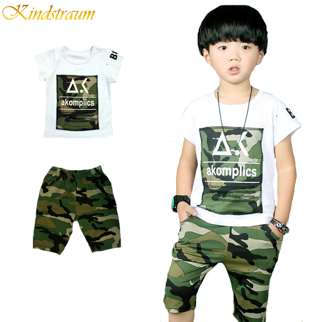 Kindstraum 2016 New Camouflage Kids Twinset 2 Pieces Sports Clothing Suit For Boys T Shirt + Pant, MC072