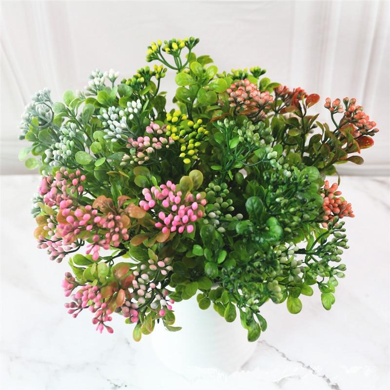 Artificial Plants 7-fork Fake Milan Grass Simulation Plastic Flowers Desktop Bonsai Accessories Home Office Garden Outdoor Decor