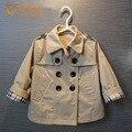 Alta calidad del diseñador de moda de foso de los niños muchachos de la capa doble de pecho fosa chaquetas primavera otoño niñas ropa de abrigo abrigos PT552-1